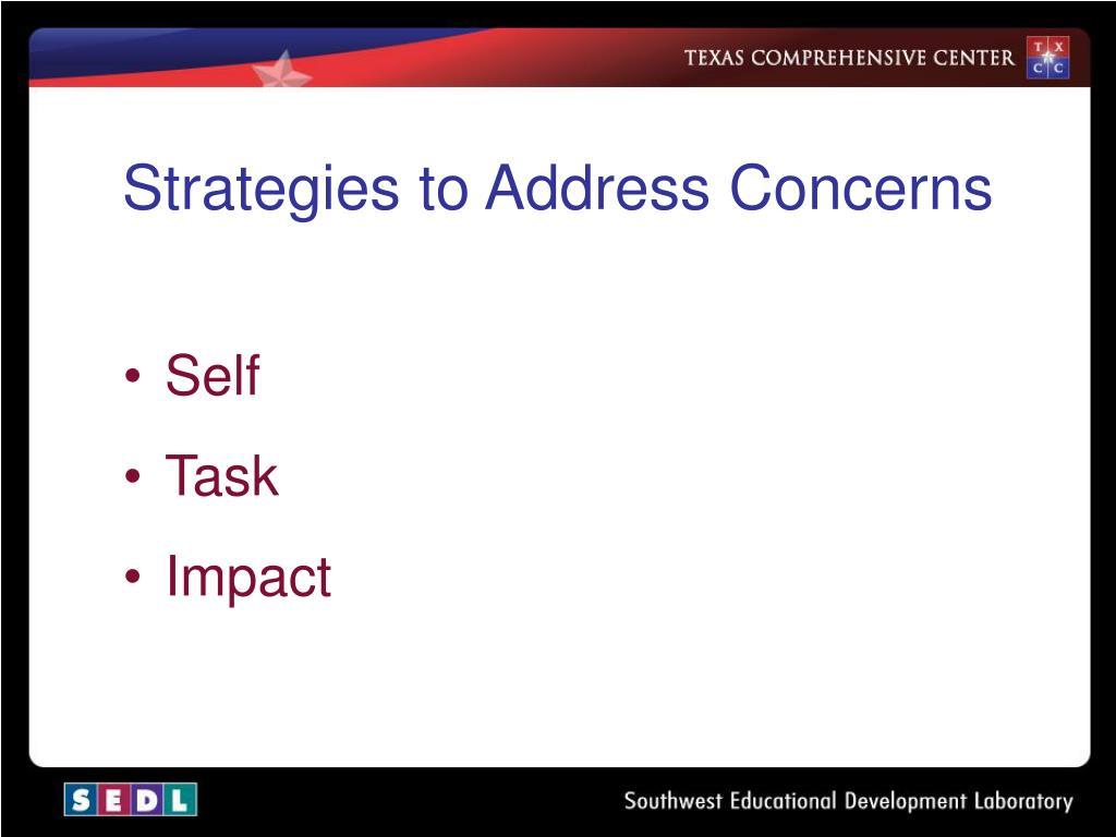 Strategies to Address Concerns