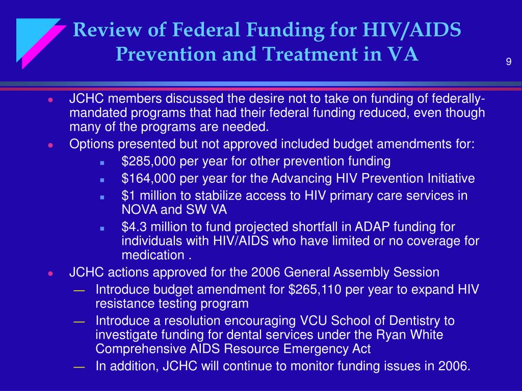 Review of Federal Funding for HIV/AIDS