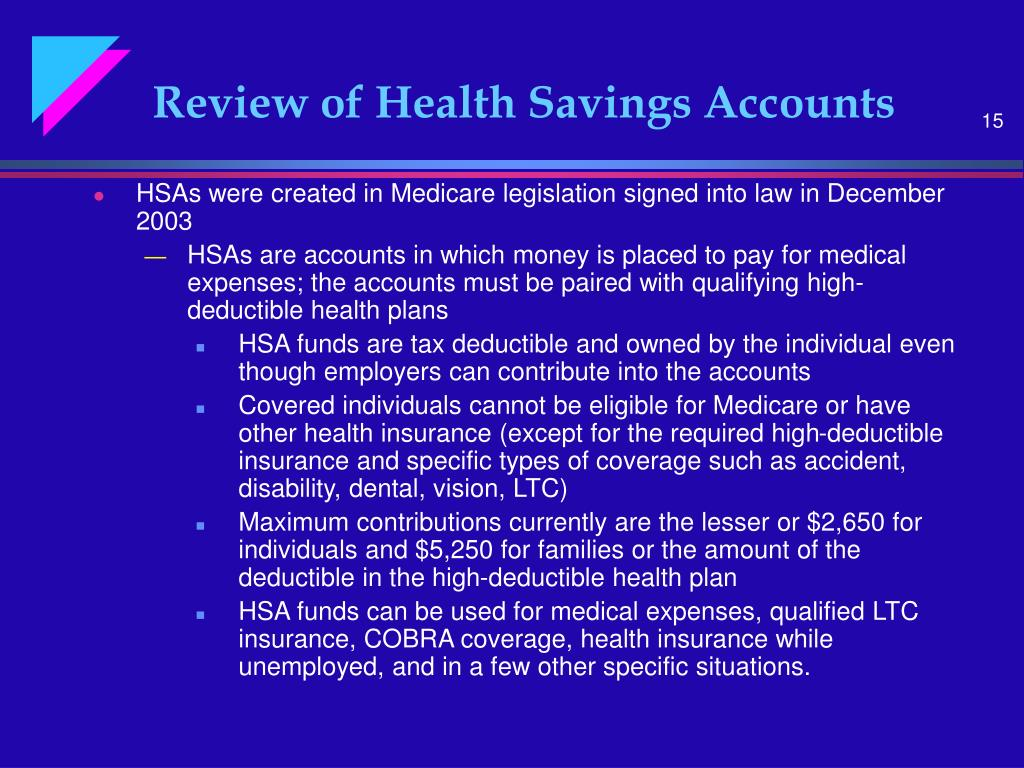 Review of Health Savings Accounts