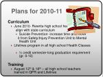 plans for 2010 11