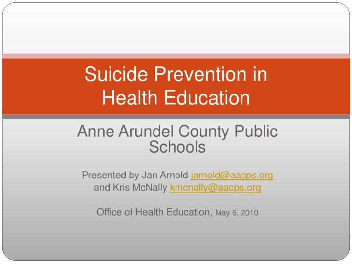 suicide prevention in health education n.