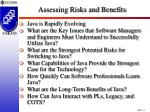assessing risks and benefits
