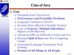 cons of java