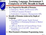learning language environment 3 complexity of apis breadth depth