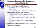 learning language environment 4 lack of generics