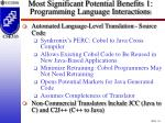 most significant potential benefits 1 programming language interactions