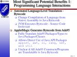 most significant potential benefits 1 programming language interactions27