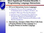 most significant potential benefits 1 programming language interactions29