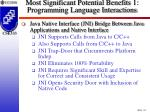 most significant potential benefits 1 programming language interactions30