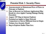 potential risk 3 security flaws