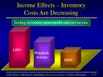 income effects inventory costs are decreasing