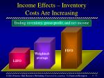 income effects inventory costs are increasing