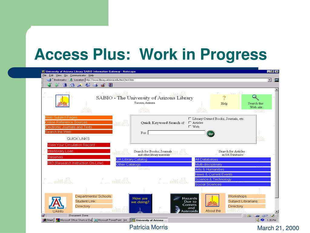 Access Plus:  Work in Progress