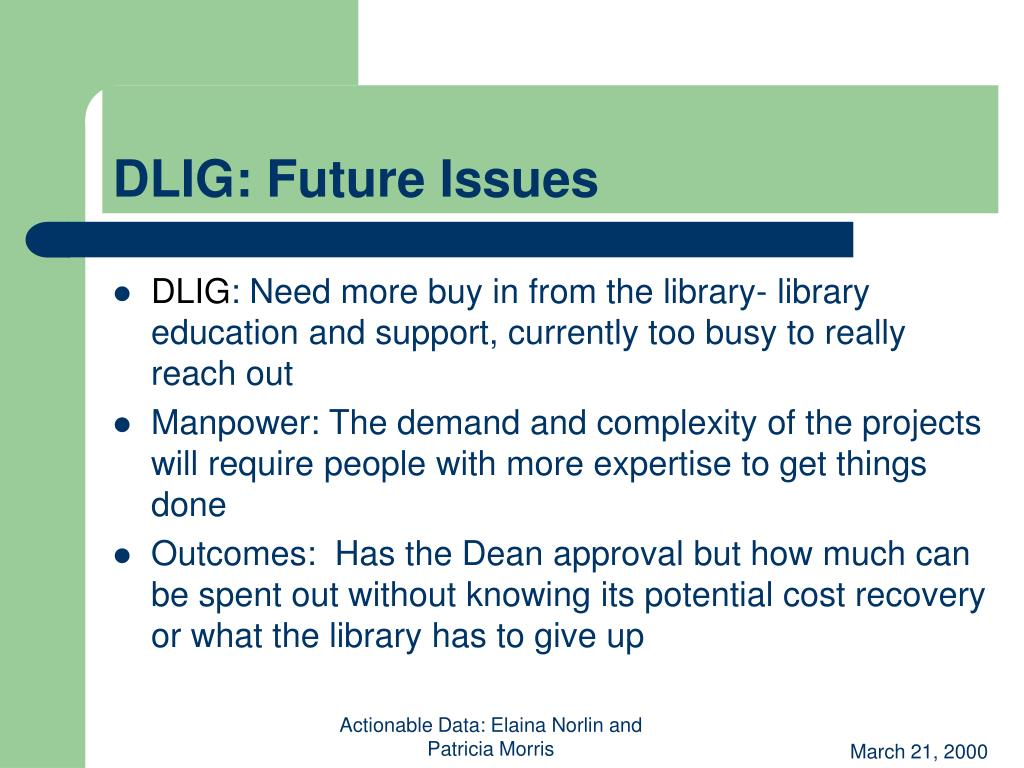 DLIG: Future Issues