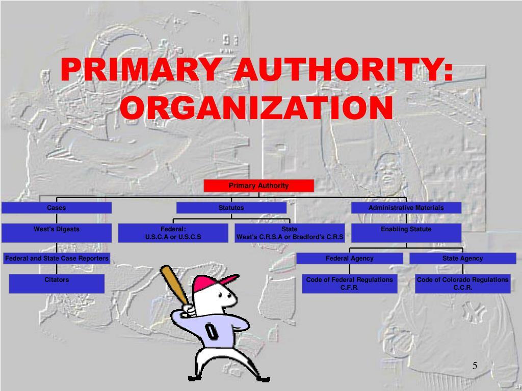 PRIMARY AUTHORITY: ORGANIZATION