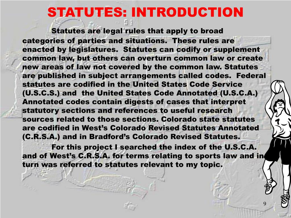 STATUTES: INTRODUCTION