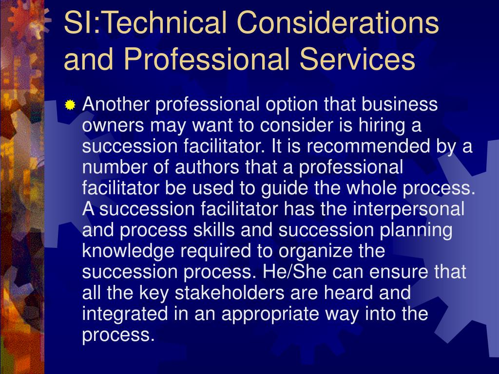 SI:Technical Considerations and Professional Services