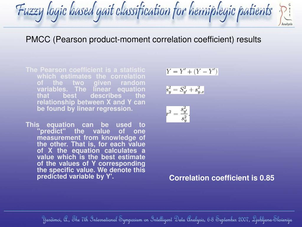 PMCC (Pearson product-moment correlation coefficient) results