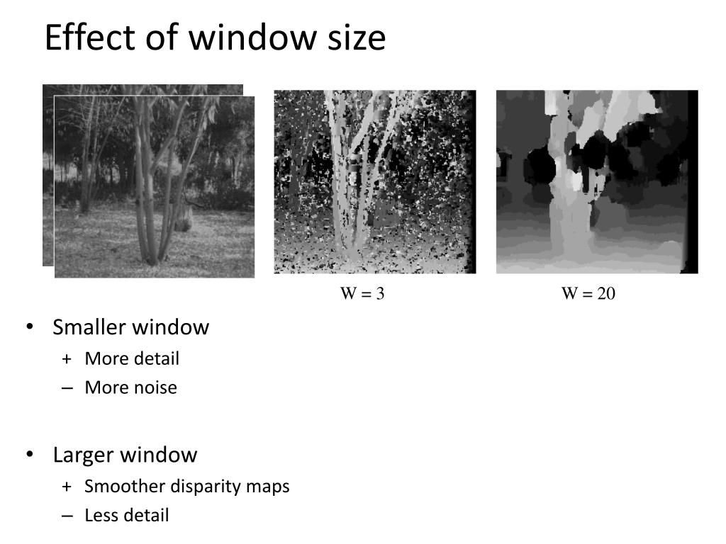 Effect of window size