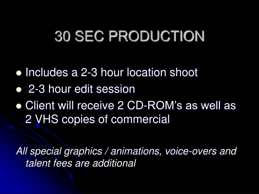 30 SEC PRODUCTION