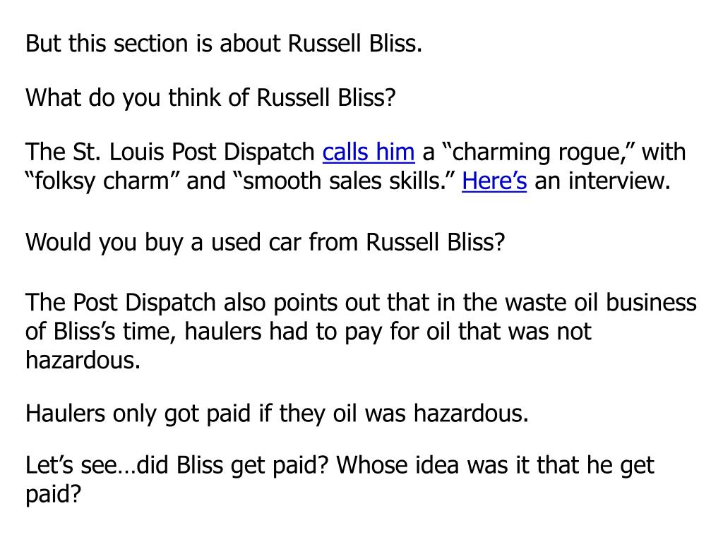 But this section is about Russell Bliss.