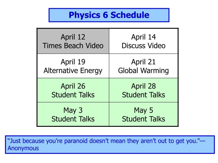 Physics 6 Schedule