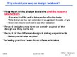 why should you keep an design notebook