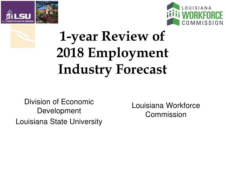 1 year review of 2018 employment industry forecast