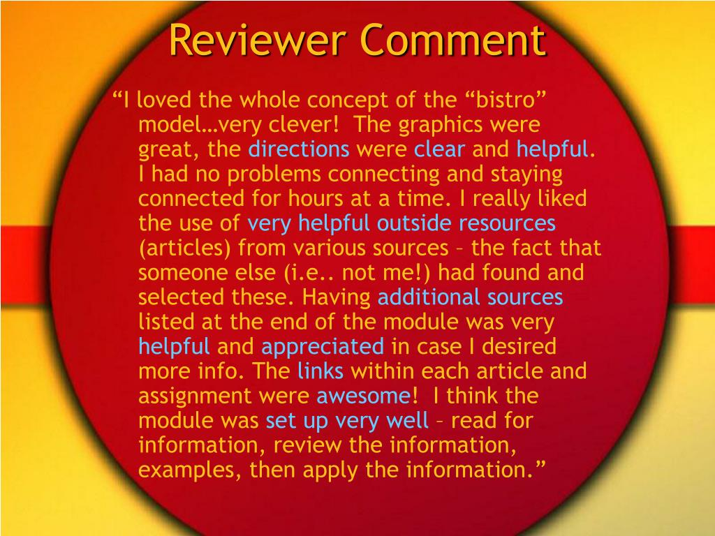 Reviewer Comment