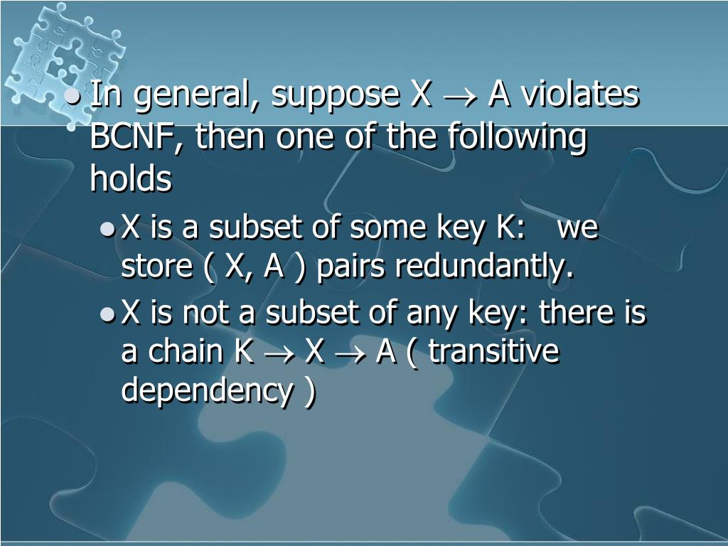 In general, suppose X  A violates BCNF, then one of the following holds