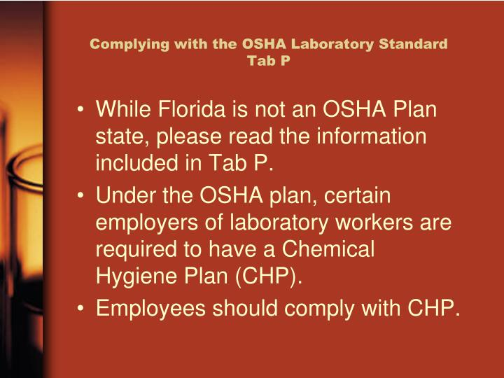 Complying with the OSHA Laboratory Standard