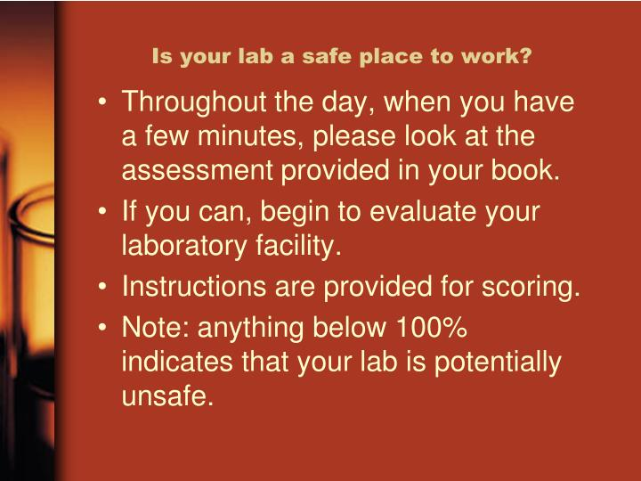 Is your lab a safe place to work?