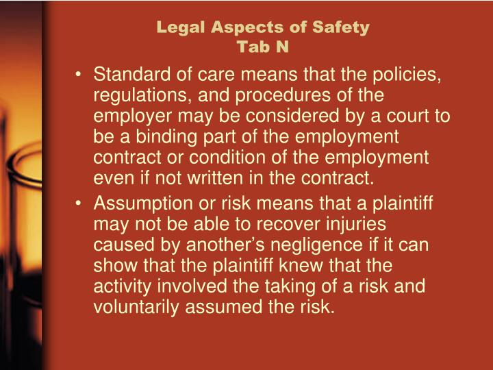 Legal Aspects of Safety