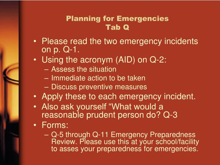 Planning for Emergencies