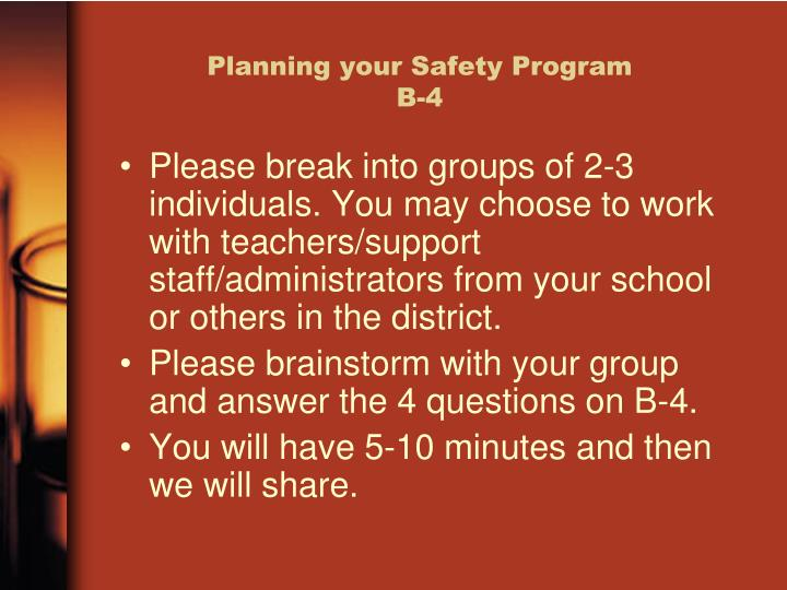 Planning your Safety Program