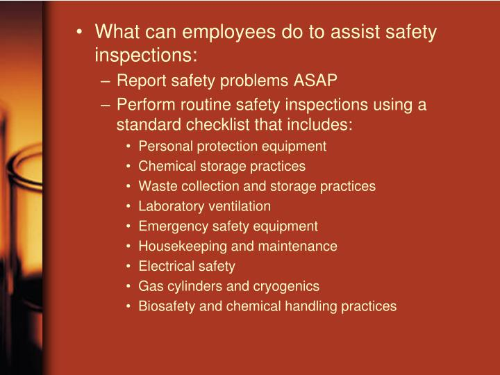 What can employees do to assist safety inspections: