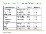 report card access to palliative care