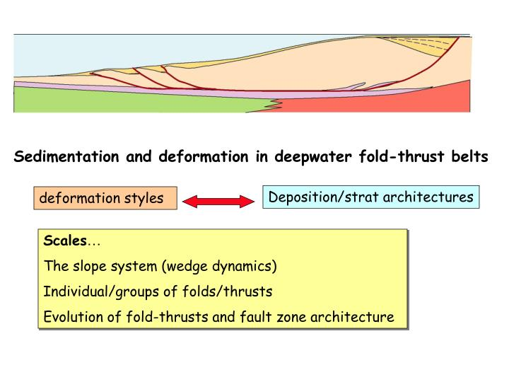 Sedimentation and deformation in deepwater fold-thrust belts