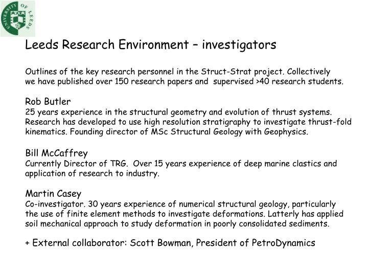Leeds Research Environment – investigators
