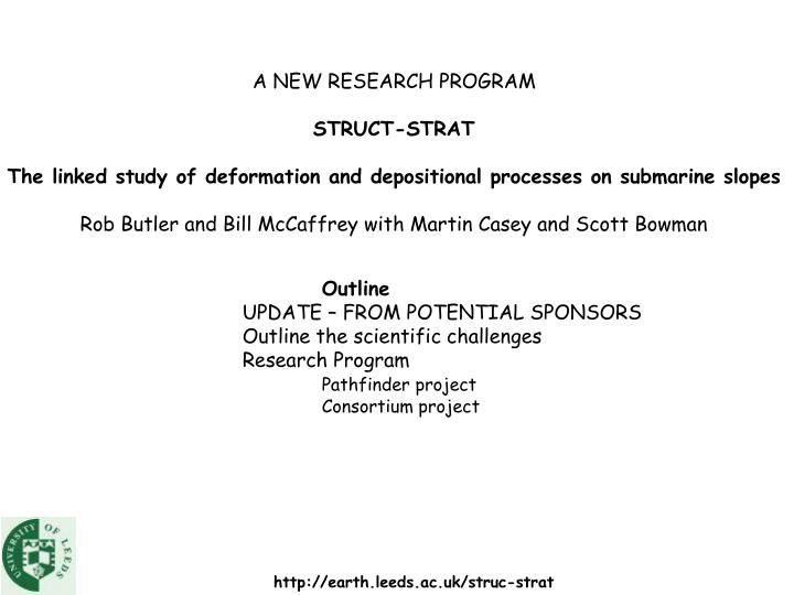 A NEW RESEARCH PROGRAM