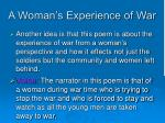 a woman s experience of war