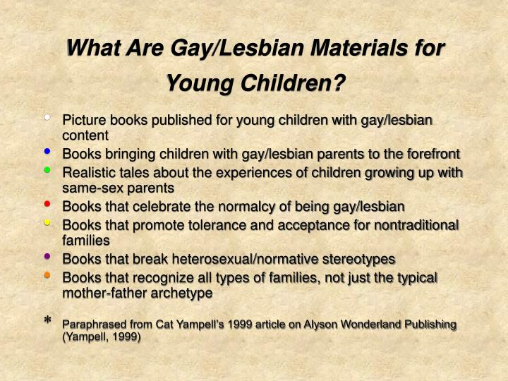 What are gay lesbian materials for young children