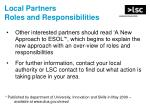 local partners roles and responsibilities