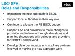 lsc sfa roles and responsibilities