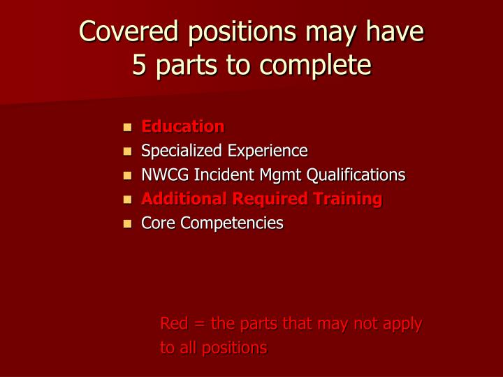 Covered positions may have 5 parts to complete