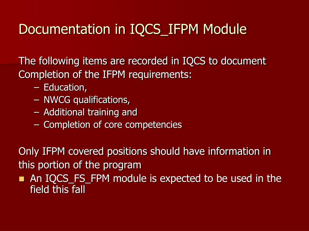 Documentation in IQCS_IFPM Module
