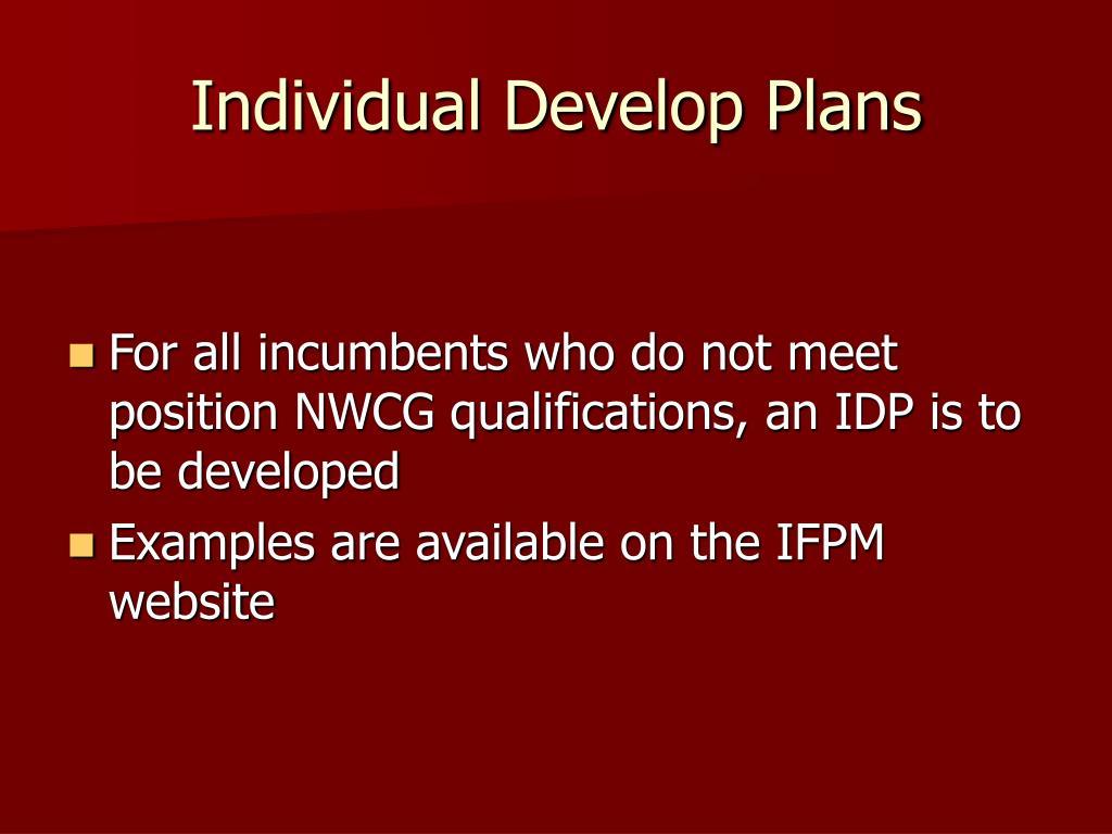 Individual Develop Plans