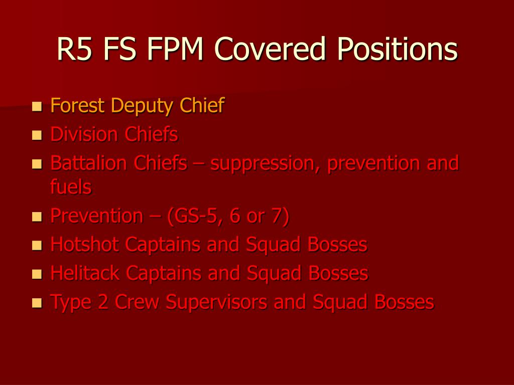 R5 FS FPM Covered Positions