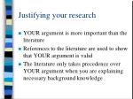 justifying your research