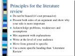 principles for the literature review